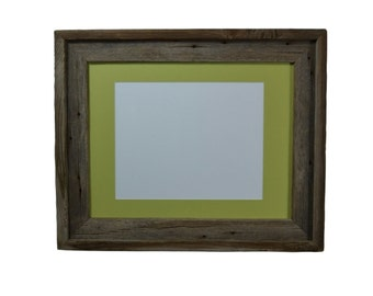 11x14 wood picture frame withgreen mat for 8x10 or 8x12 or 9x12