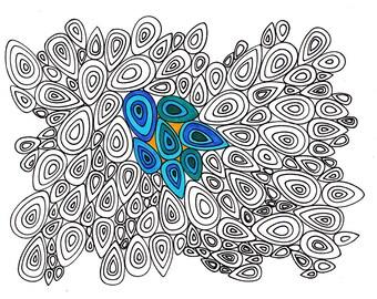 TearDrop Printable Coloring Page - Instant Digital Download JPG - TearDrop Cluster Doodle