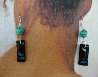 Glazed Ceramic Skull Bead Earrings - Brown, Aqua - OOAK