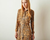 Vintage Leopard Print Belted Dress