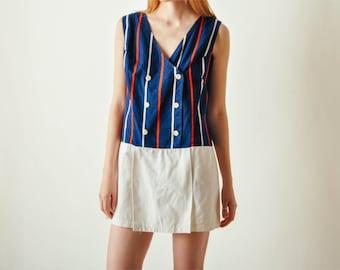 Vintage Striped Cotton Romper