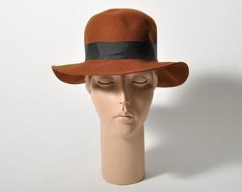 Vintage Brown Hat w/ Ribbon
