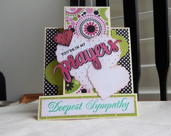 Handmade Sympathy Card: complete card, handmade, balsampondsdesign, christian, greeting card, card, prayers, standing pink, green