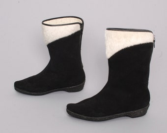size 6 BOHEMIAN black faux suede 70s FLEECE faux fur lined winter zip up WEDGE boots