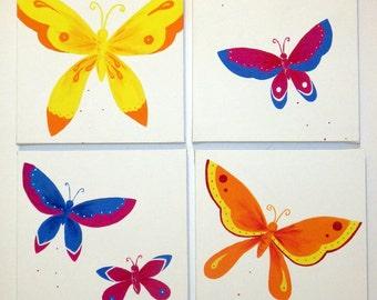 4 Butterfly Paintings / Canvases / Children's Art  / Nursery Decor - Butterflies