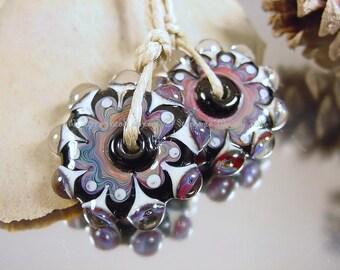 Handmade lampwork glass bead set, Artisan glass beads, black beads, blue beads, purple beads, mandala beads, disc beads, SRA lampwork