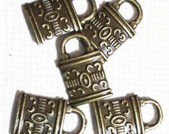 15 pcs  antique brass lock charm, zinc alloy lock charm 8x12mm, antique bronze lock charm