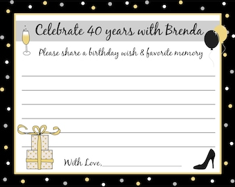 50 Birthday Advice Cards  -  ANY AGE  - Any Colors -  40th 50th 60th 75th Birthday, etc.