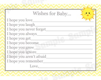 24 Wishes for Baby Cards - You are My Sunshine Baby Shower  - Sunshine Baby Shower  - Advice Cards - Wishes Cards