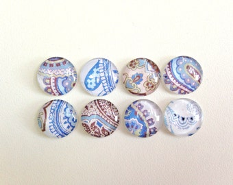 Denim Blues- set of 8 Glass Magnets - Handmade- colorful shades of blue and brown pattern