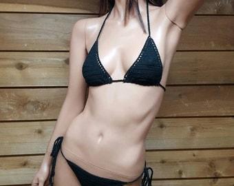 Black crochet bikini swimsuit
