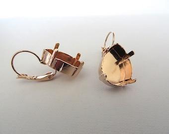 1 Pair Rose Gold Plated Lever Back Earrings for Swarovski 4320 18mm