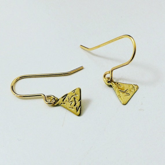 Brass Triangle Earrings with Stars - Geometric - Everyday - Simple - Modern - Small - Gypsy - Frida Kahlo - Gold - Stars - Tiny - Cute -