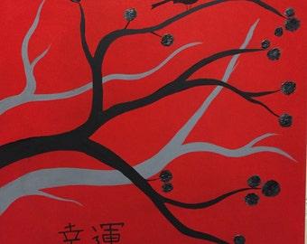 "Good Fortune Zen Large Original Painting 20"" x 20"""