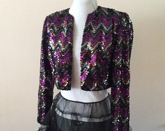 Sequin Jacket Purple Black Silver Bolero Jacket sz M/L Miss Elliette California