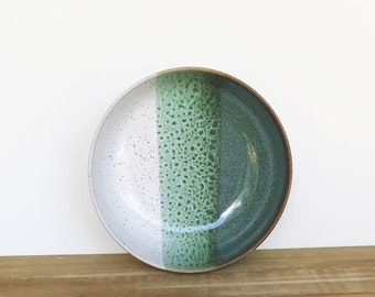 Pasta Bowl in Sea Mist and White Glazes, Stoneware Pottery, Ceramic Dinner Salad Bowl