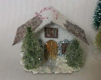 Vintage Putz Style Miniature Farm House White Glitter House Pine Trees for Christmas Village Decor or Holiday Tree Decoration Ornament