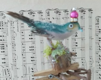 One of a Kind Sweet Little Green Finch Vintage Altered Art Woodland Bird with a Crown Glitter and Moss Fairy Ornament Clip