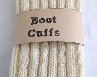 Wool Boot Cuffs Toppers Handknit Cream Off white  Adult Teen Girl  Wool Warm Gift