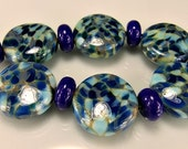 Glass Lampwork Beads Etched Blue Ivory Silver  Mosaic Lampwork Bead Set SRA