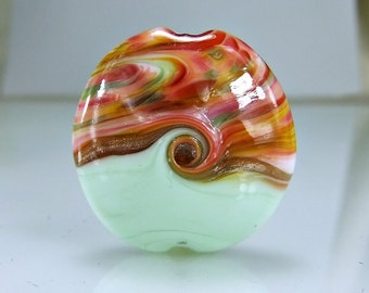 Pale Green Cranberry Lampwork Glass Focal Bead