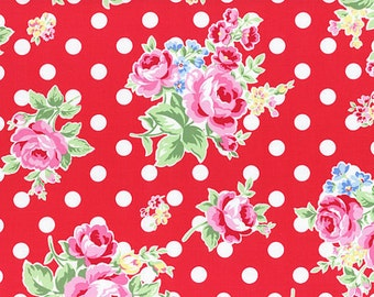 Red Pink White Rose Floral Polka Dot 31268 30 Fabric by Lecien Flower Sugar