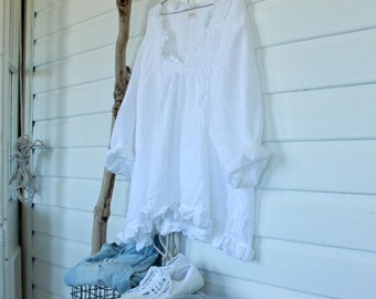 White Linen Prairie Top One Size Fits Most