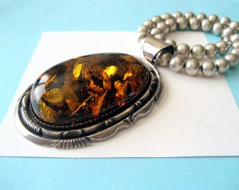Huge Navajo ROBERT KELLY Sterling Silver and Amber Pendant  on Beaded Sterling Necklace