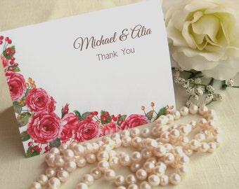 Antique Roses Wedding Thank You Cards - Rose Wedding - Wild Roses Stationery