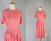 Vintage 1950s Valentine Dress Salmon Pink Sweetheart Day Dress Full Skirt