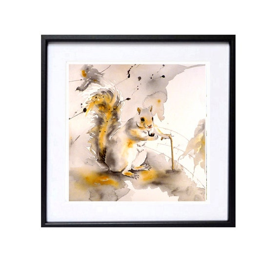 Squirrel Art Print Watercolor Painting Animal painting Forrest art woodland artwork by Nancy LaBerge Funny nursery animale illustration