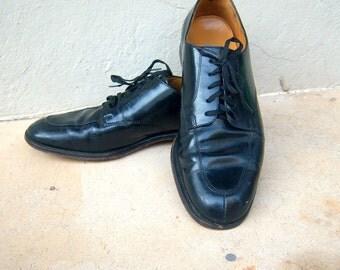 COLE HAAN black leather oxfords / vintage mens dress shoes / formal wedding mens shoes 11