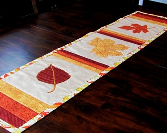 fall leaf decor, cotton table runner, table, buffet, sideboard topper, decor for fall entertaining, thanksgiving decor