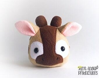 Kawaii Stuffed Giraffe Plush, Small Tan Jungle Animal Handmade Plushie, READY TO SHIP