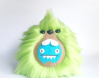 Green IceBat Uglydoll Monster made Exclusively for UglyCon at Giant Robot in L.A., Plush Fluffy Handmade Fuzzy Kawaii Plushie, READY to SHIP