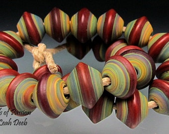 Handmade Glass Beads of Passion Lampwork Set - 24 Tie Dye Red Bicones