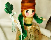 St Patricks Day tree topper Irish girl gold and green clover shamrock queen ooak art doll Ireland st Patrick's day centerpiece party decor