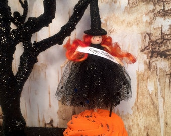 Witch doll witch cake topper vintage retro inspired art doll wreath pick party deco arrangement pick halloween decor