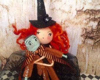 Witch with her frankenstein doll witch centerpiece witch tree topper ooak art doll halloween decor orange black party decor vintage retro