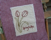 Spring, Hand Stitched, KitchenTowel, Flowers, Tulips