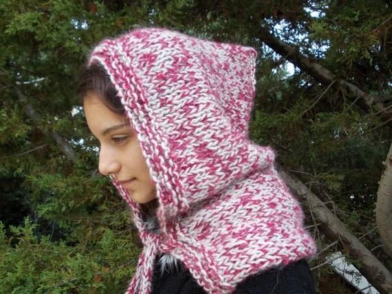 Pixie Elf Hood women hoodie hat medieval chunky bulky alpaca merino wool snood red fluffy winter fashion thick yarn cape wrap