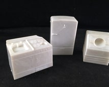 Set of Vintage Superior Brand White Plastic Kitchen Refrigerator, Washer, Sink and Stove Doll House Furniture