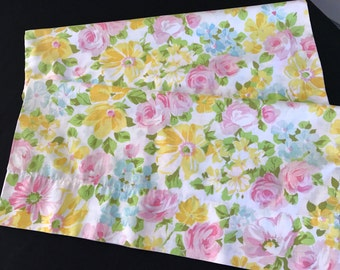 Pair of Vintage 1970's Era Pink and Yellow Floral Print Cotton Blend Pillowcases