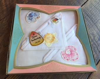 Set of 3 Vintage New in Box Pink, Yellow, and Blue Embroidery Flowers Ladies' Hankies/Handkerchiefs