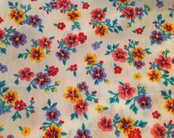 4 Yards of Vintage Pink, Blue and Yellow Floral Print Cotton Fabric