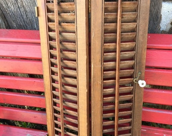 Vintage Pine Wooden Louvered Shutters 27 x 15 3/4