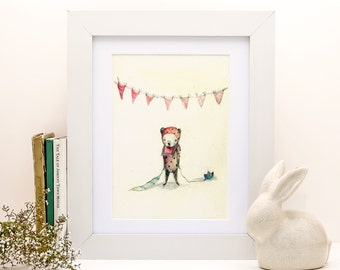 Children's Wall Art, Pipinno, the little bear, Print, 8x11 inches