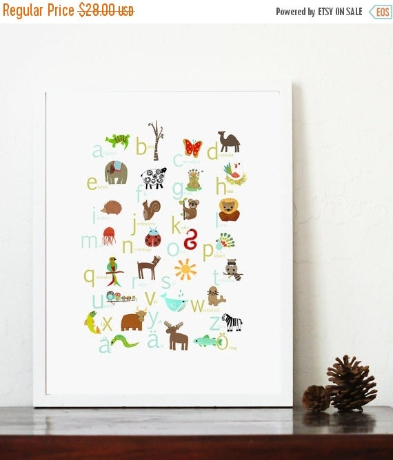 25% OFF SALE Swedish Alphabet Print 11x14 Nursery Wall Art, Animal Themed, Kid's Art Decor, Gender Neutral Nursery, ABC, Children
