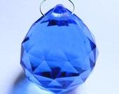 MEDIUM BLUE glass ball suncatcher ~ Faceted 30mm PRISM lightcatcher ~ Feng Shui - suncatcher - for glass crafting