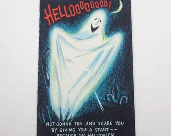 Vintage Unused Halloween Greeting Card with Ghost in Cemetery Black Cat